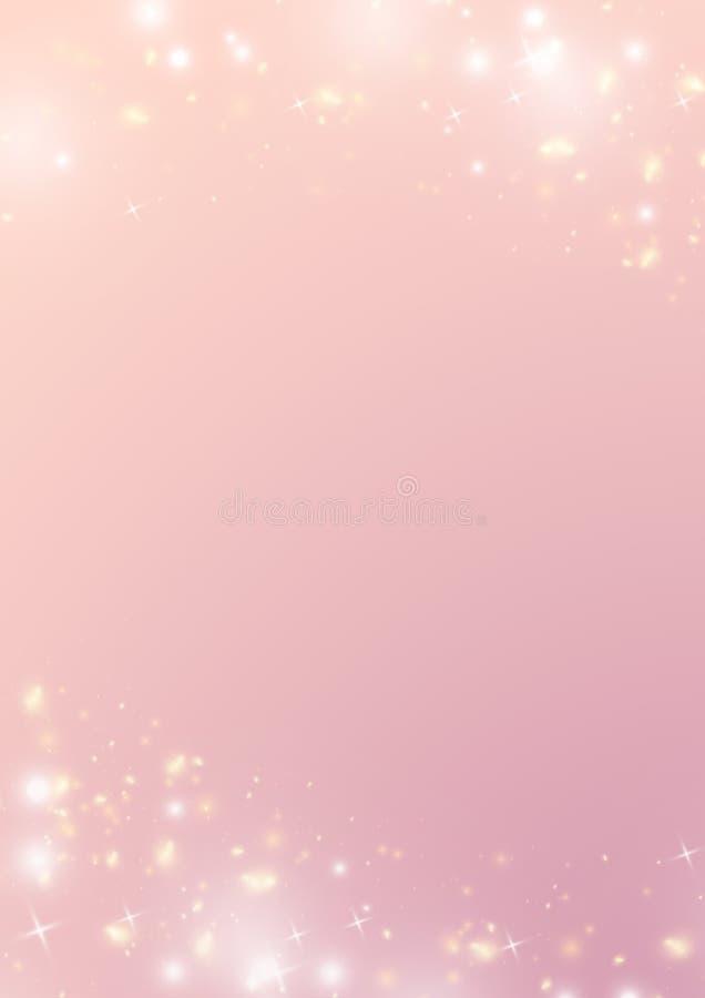 Fundo pastel do rosa do inclinação, estrela do bokeh da faísca e luz b ilustração stock