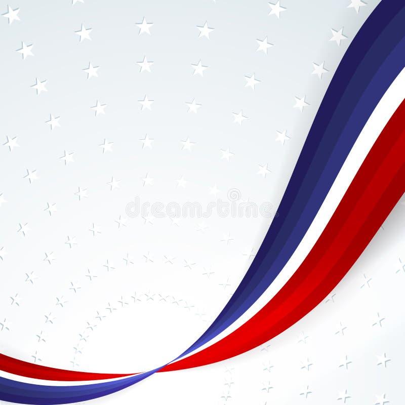 Fundo patriótico das cores da bandeira nacional de linhas onduladas abstratas lisas dos EUA no fundo do teste padrão das estrelas ilustração royalty free