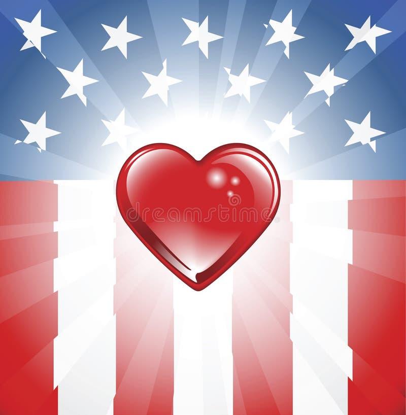 Fundo patriótico do coração ilustração stock