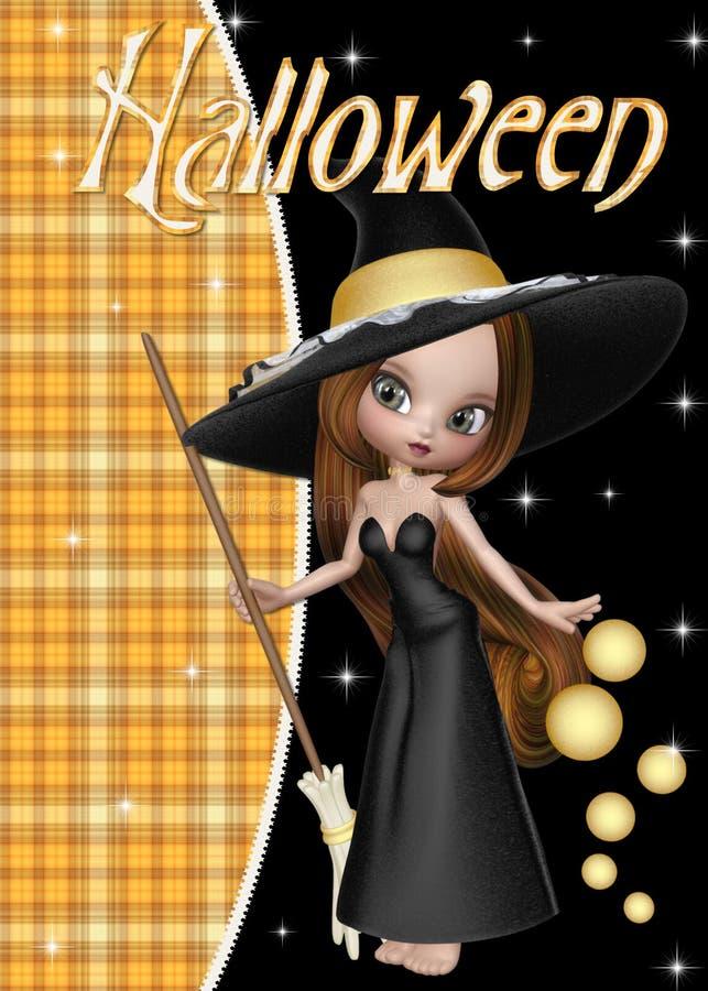 Fundo pequeno de Halloween da bruxa ilustração stock