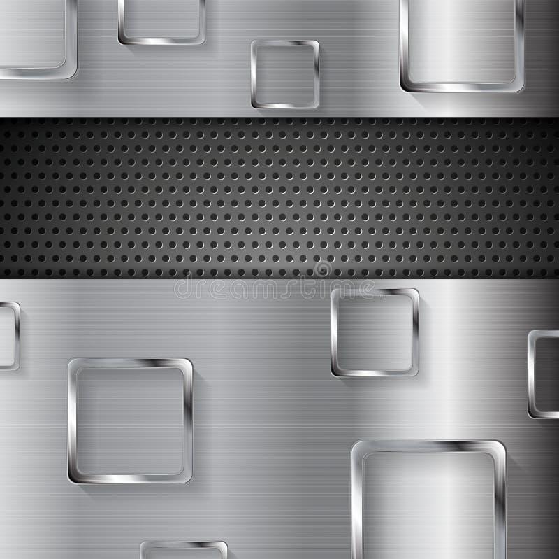 Fundo perfurado do metal abstrato com quadrados ilustração royalty free