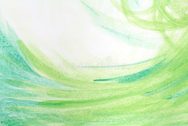 Fundo pintado à mão abstrato criativo verde, papel de parede, textura, pintura acrílica na lona Arte moderna Arte contemporânea ilustração royalty free