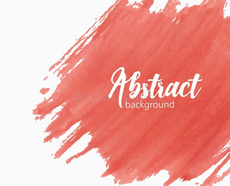 Fundo pintado à mão abstrato da aquarela com marca, mancha, mancha, borrão ou mancha da pintura da cor vermelha vívida creativo ilustração stock