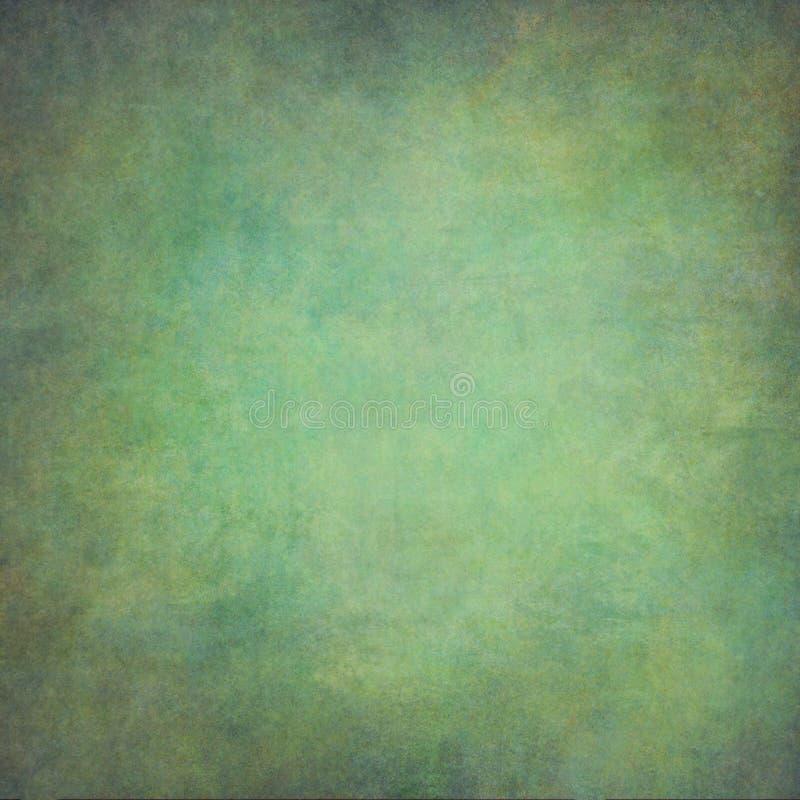 Fundo pintado à mão abstrato do vintage do verde azul fotografia de stock royalty free