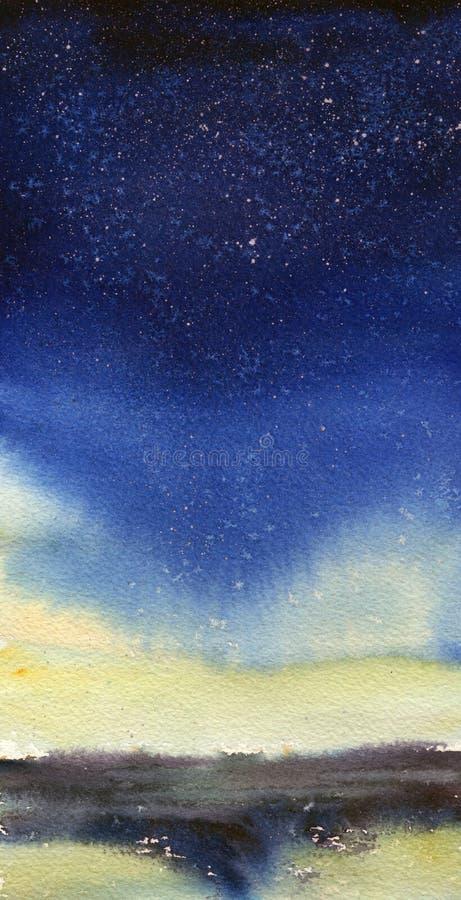 Fundo pintado à mão da aquarela do espaço Pintura abstrata da galáxia Textura cósmica com estrelas Céu nocturno ilustração do vetor