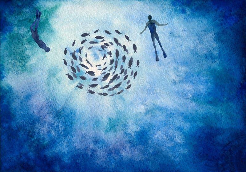 Fundo pintado à mão da aquarela dos mergulhadores subaquáticos do mundo ilustração do vetor