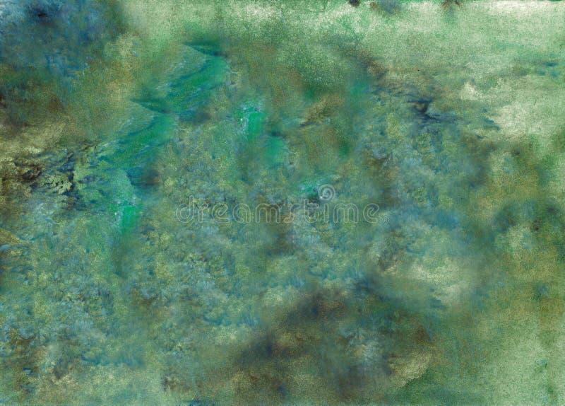 Fundo pintado acrílico abstrato Cor vibrante textured verde, preta, azul misturada Molde do Grunge para seu projeto foto de stock royalty free