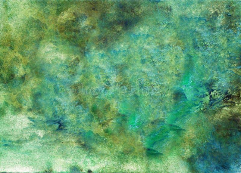 Fundo pintado acrílico abstrato Cor vibrante textured verde, preta, azul misturada Molde do Grunge para seu projeto fotografia de stock royalty free