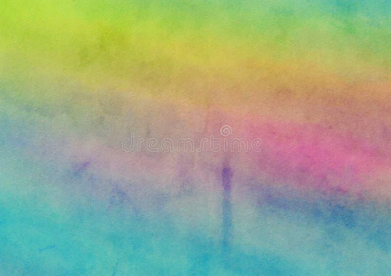 Fundo pintado arco-íris da lona da lavagem da aquarela ilustração stock