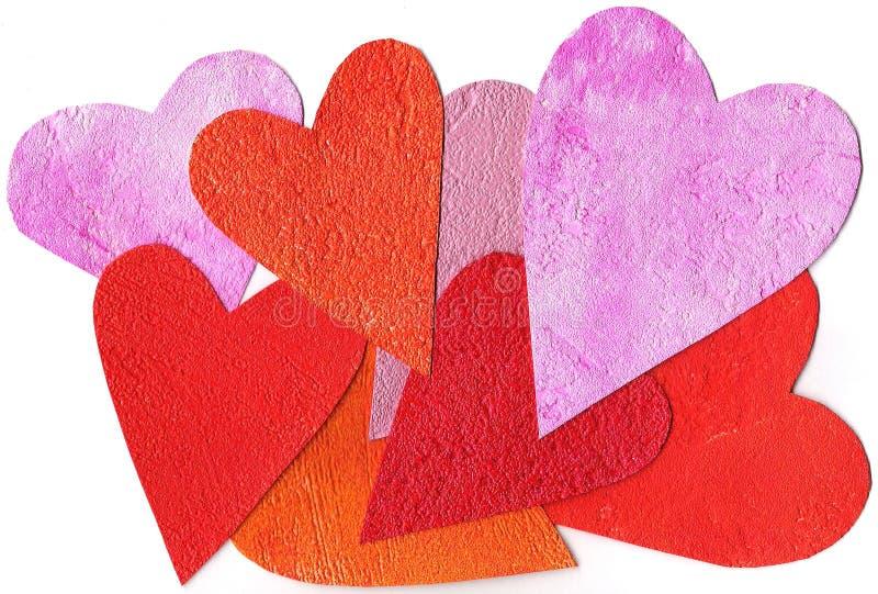 Fundo pintado colorido do coração fotos de stock