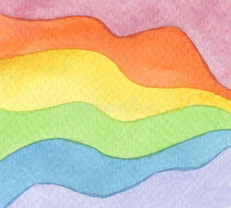 Fundo pintado da onda aquarela abstrata Textura (de papel) enrugada Isolado ilustração do vetor
