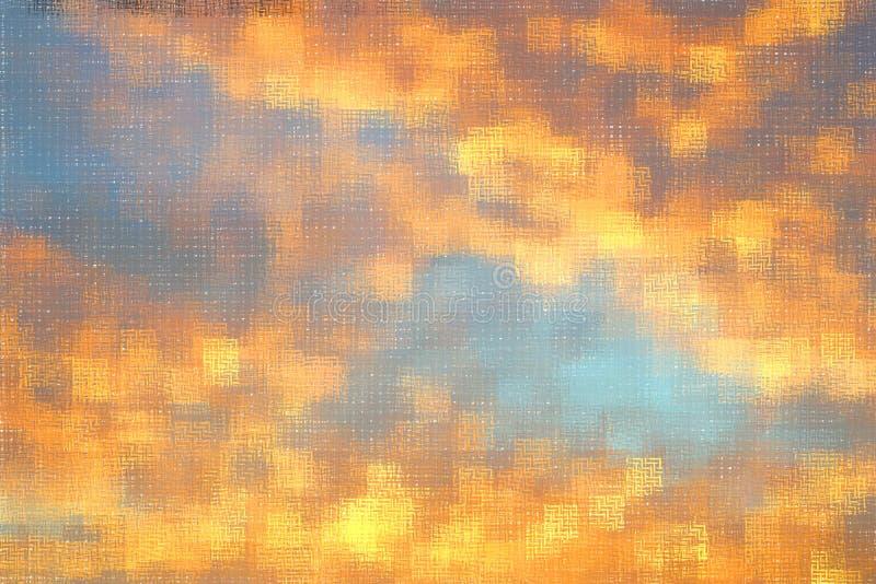 Fundo pintado digital azul e alaranjado abstrato do teste padrão imagem de stock