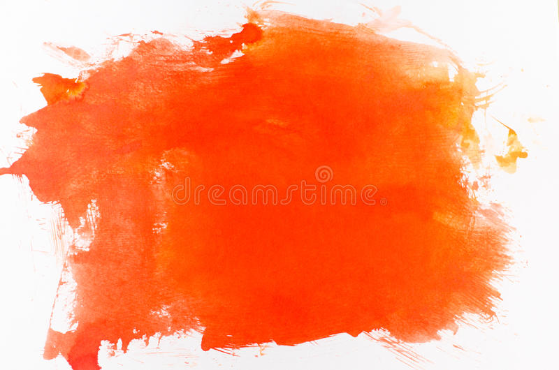 Fundo pintado laranja da aquarela fotos de stock royalty free