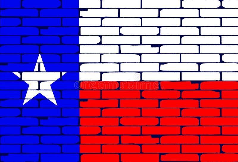 Fundo pintado Texan da bandeira da parede de tijolo ilustração do vetor