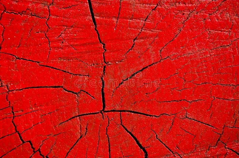 Fundo pintado vermelho do tronco de árvore fotos de stock