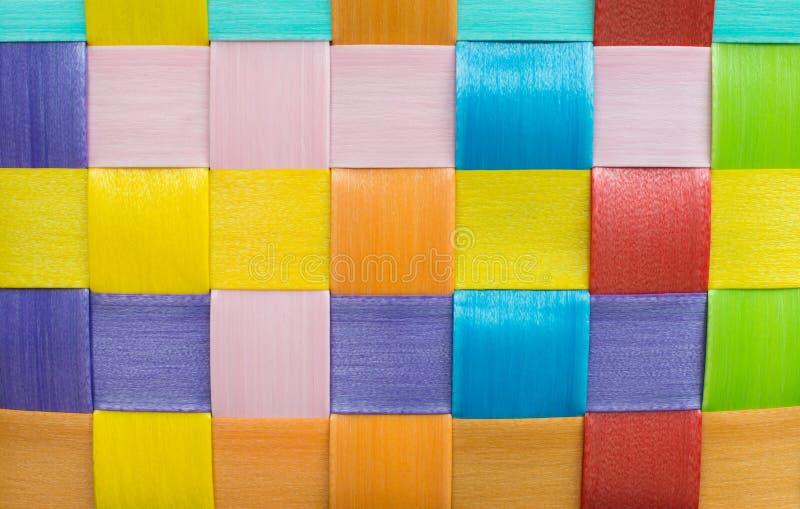 Fundo plástico colorido do weave fotografia de stock