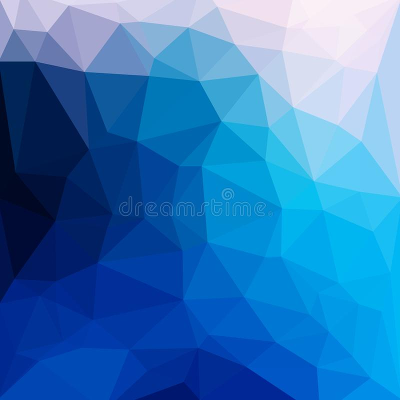 Fundo poli triangular emaranhado geométrico da ilustração do vetor do estilo do sumário azul baixo ilustração royalty free