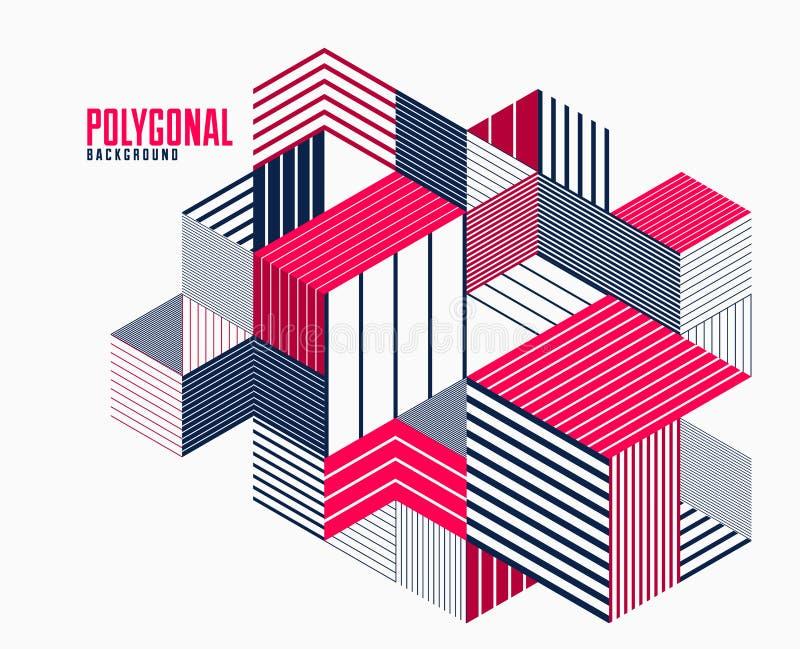 Fundo poligonal abstrato com triângulos listrados e projeto do vetor dos cubos 3D Molde para a propaganda ou as tampas diferentes ilustração royalty free