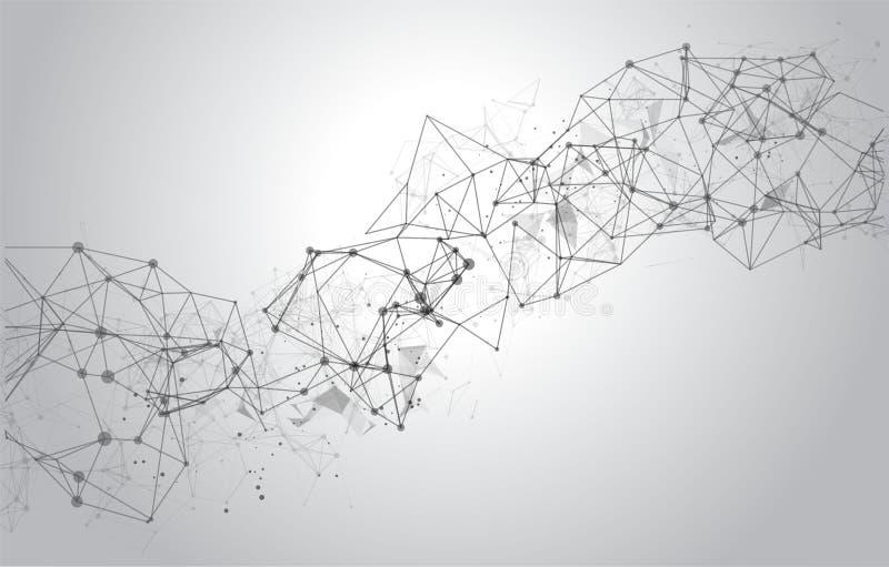 Fundo poligonal abstrato do espaço com pontos e linhas de conexão ilustração royalty free
