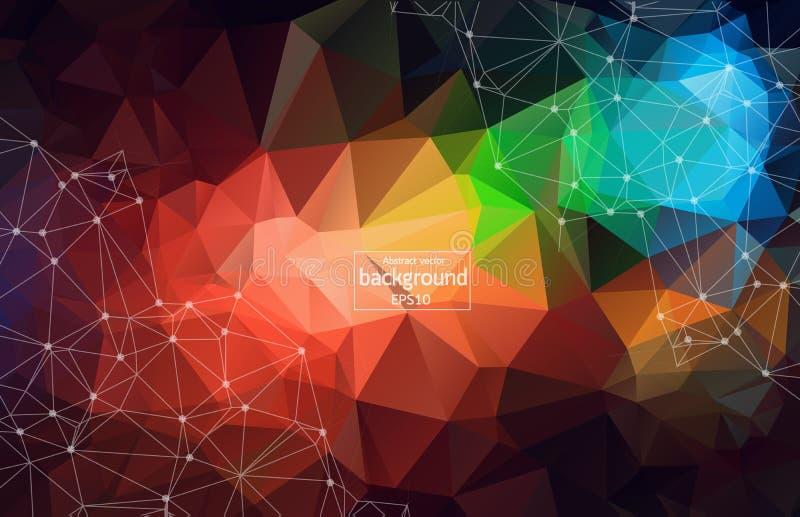 Fundo poligonal abstrato do espaço com pontos e linhas de conexão Baixa ilustração poli do vetor ilustração do vetor