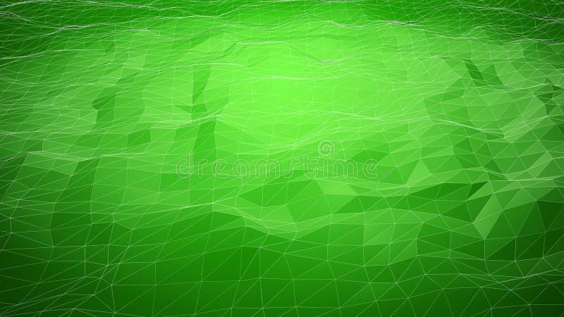 Fundo poligonal abstrato verde com linhas do wireframe imagens de stock royalty free