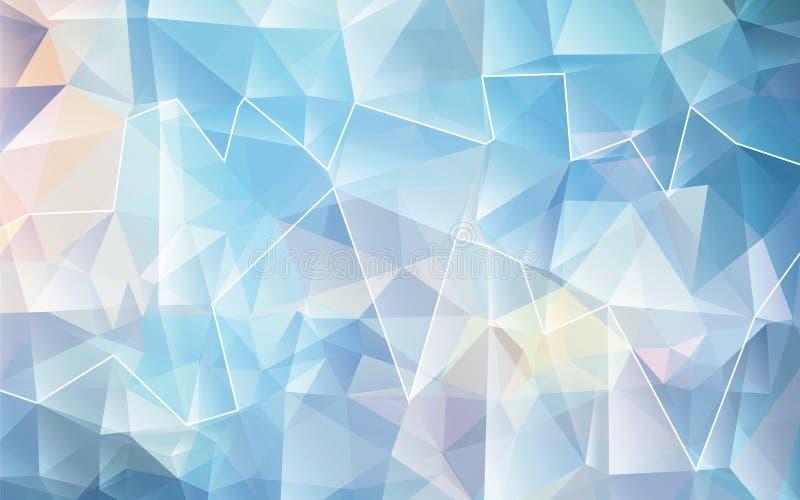 Fundo poligonal branco azul do mosaico Ilustração do vetor Projeto creativo ilustração royalty free