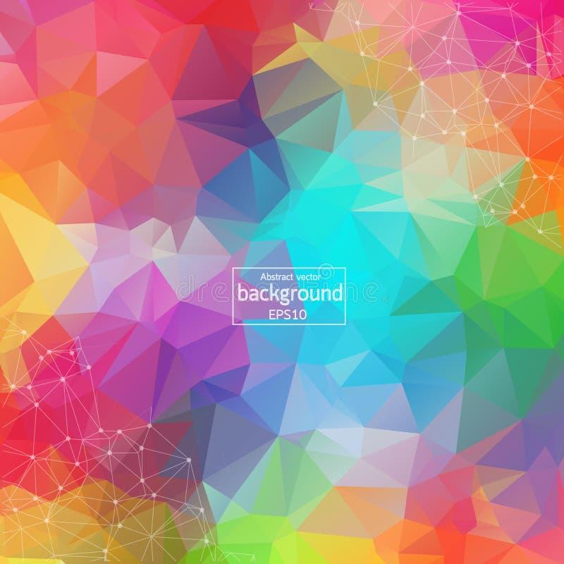 Fundo poligonal colorido abstrato do espa?o com pontos e linhas de conex?o Molécula poligonal geométrica do fundo e ilustração royalty free