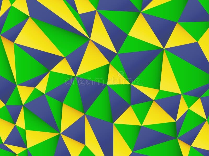 Fundo poligonal com cores da bandeira de Brasil ilustração royalty free
