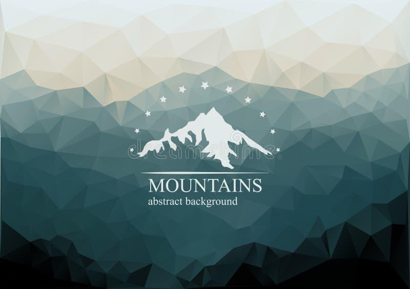 Fundo poligonal das montanhas com logotipo no meio ilustração do vetor