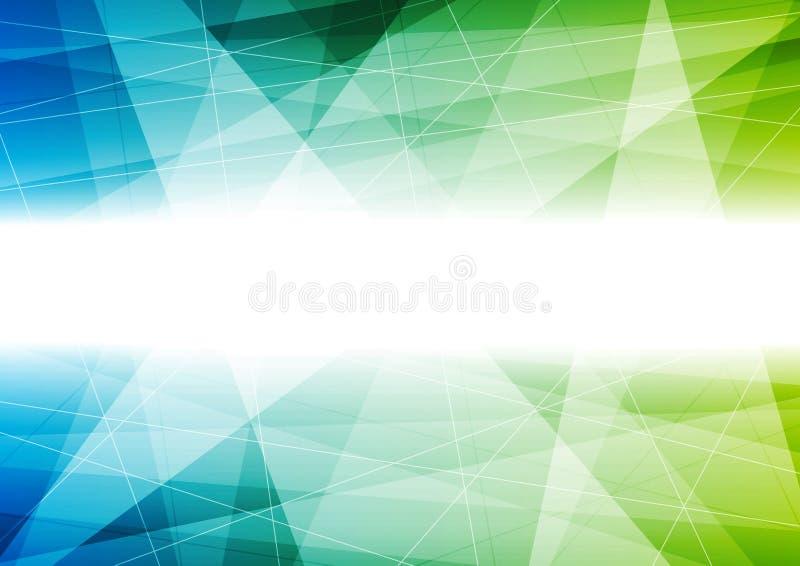 Fundo poligonal do vetor da tecnologia azul e verde ilustração royalty free