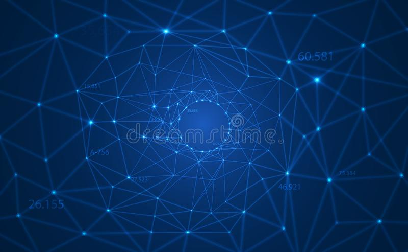 Fundo poligonal do vetor do sumário com linhas conectadas e os pontos que formam um círculo na disposição grande do visualização  ilustração stock