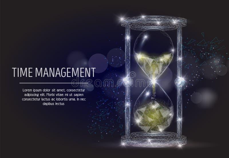 Fundo poligonal geométrico da arte do vetor da gestão de tempo ilustração stock
