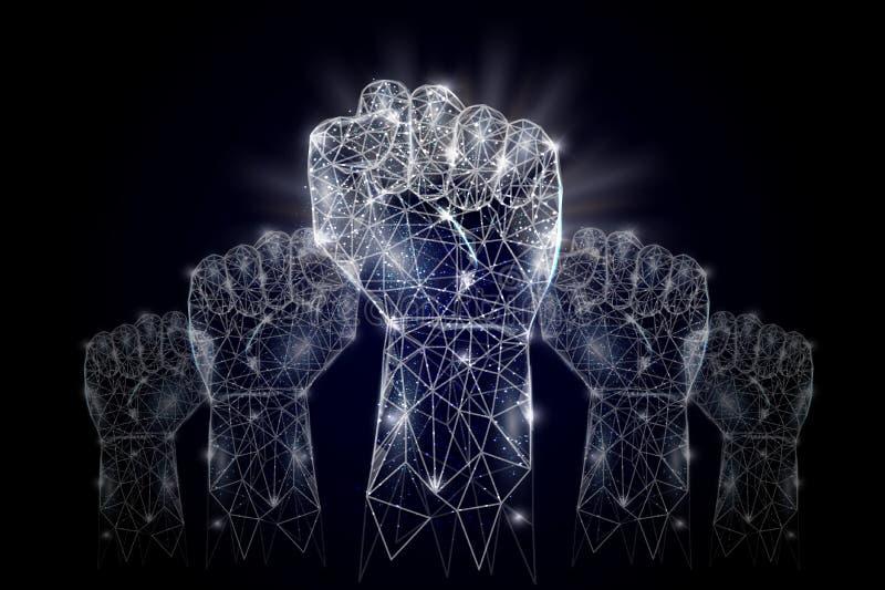 Fundo poligonal geométrico levantado da arte do vetor das mãos ilustração do vetor