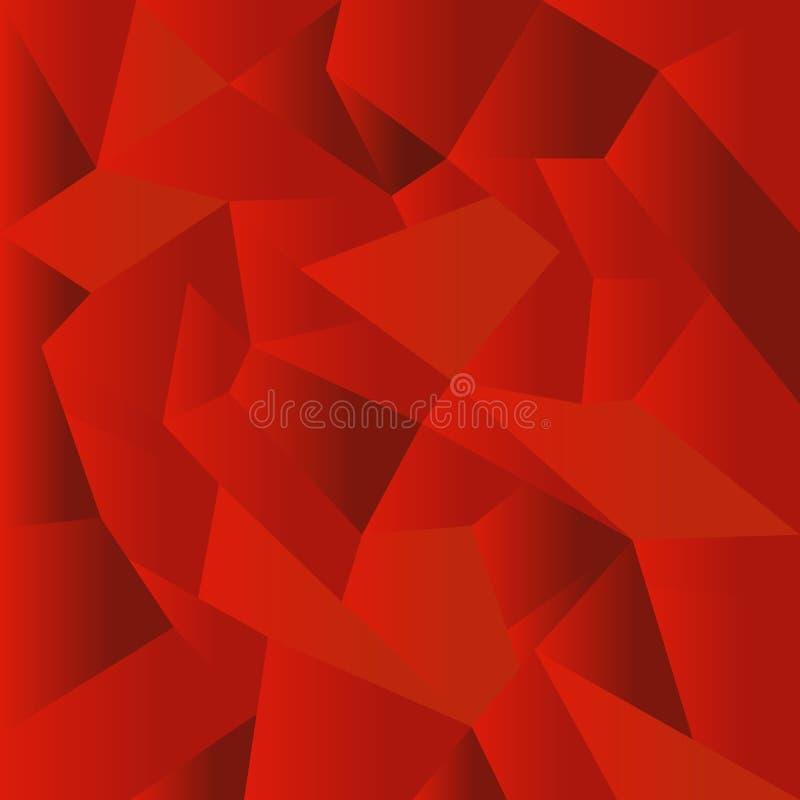 Fundo poligonal vermelho abstrato do mosaico ilustração stock