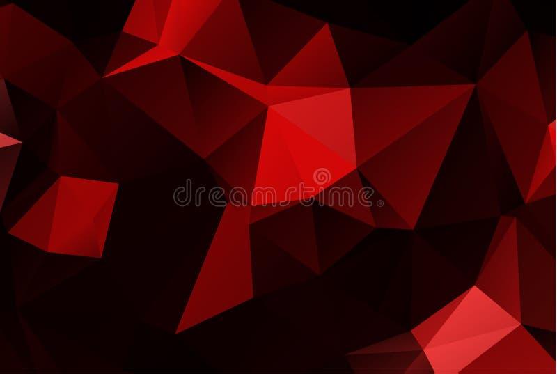 Fundo poligonal vermelho da ilustração Baixo estilo poli Baixo gradie poli triangular emaranhado geométrico escuro multicolorido  ilustração royalty free