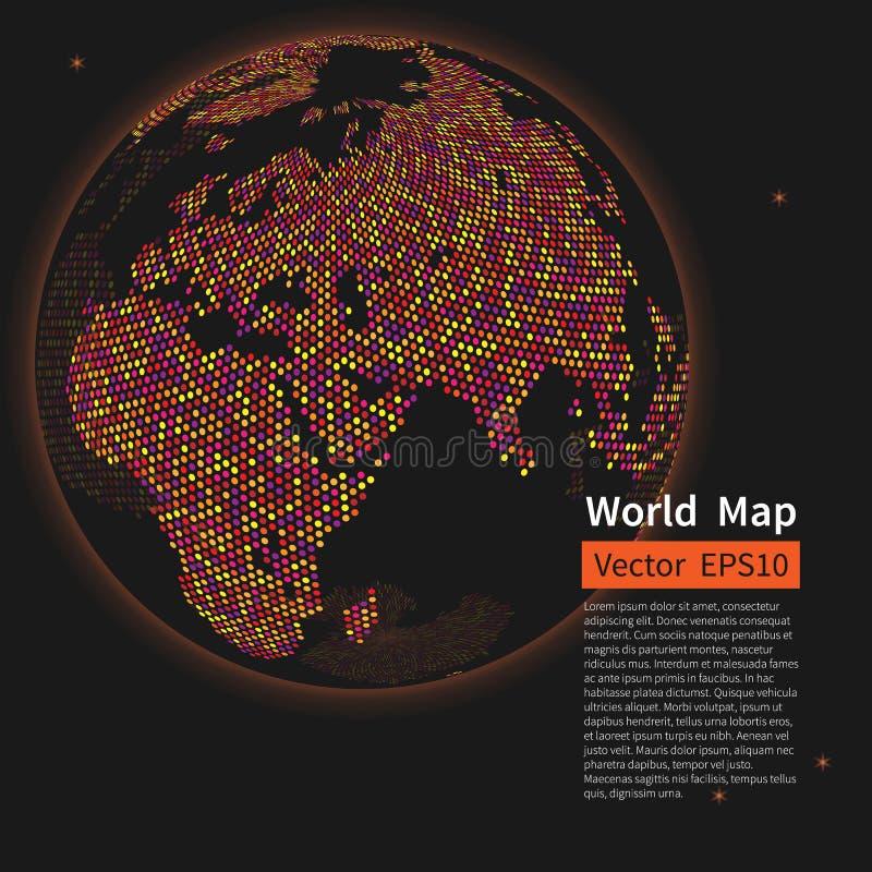 Fundo pontilhado do mapa de mundo Globo da terra da noite globalization ilustração stock