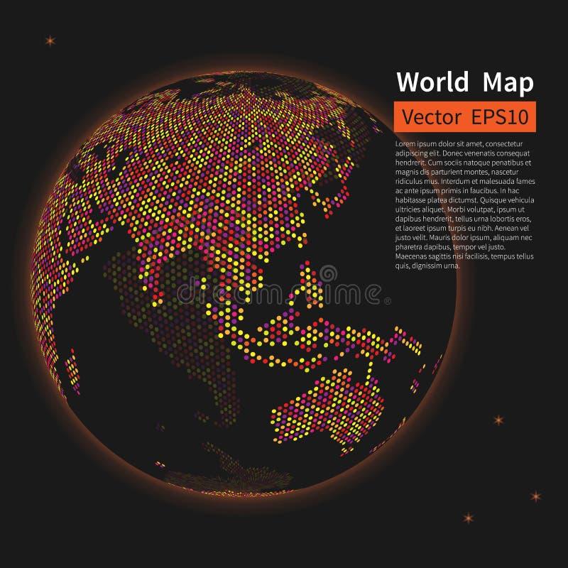Fundo pontilhado do mapa de mundo Globo da terra da noite globalization ilustração do vetor
