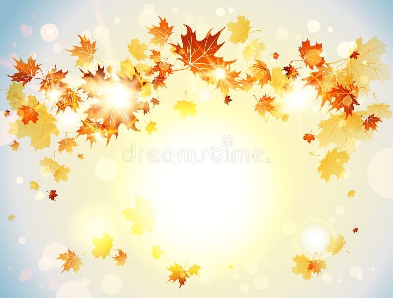 Fundo positivo com folhas de outono ilustração royalty free