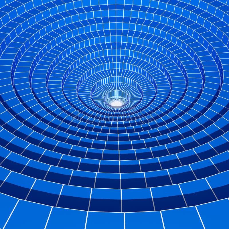 fundo prendido azul abstrato do círculo 3d ilustração stock
