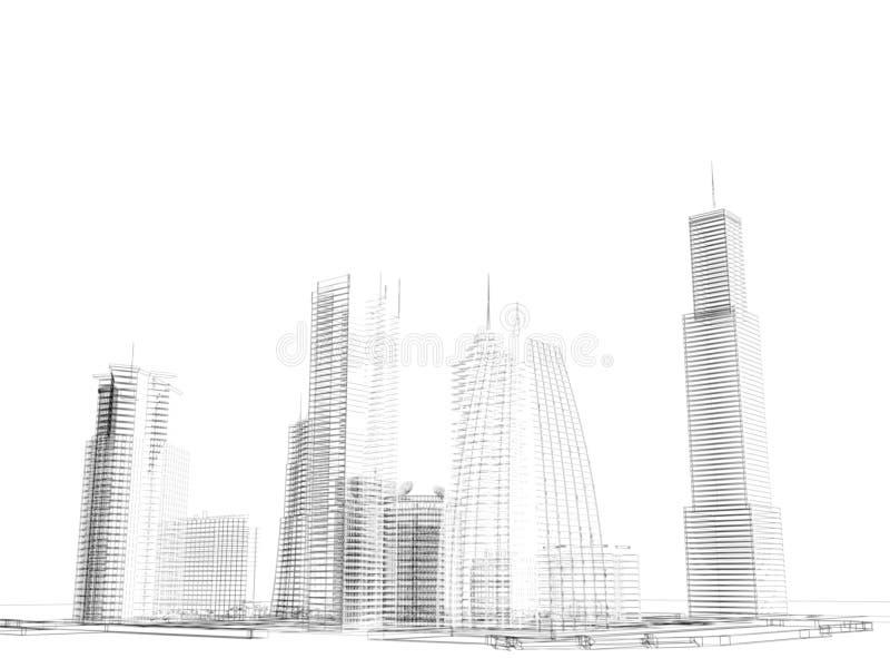 Fundo prendido da skyline ilustração stock