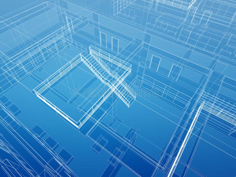 Fundo prendido interior arquitectónico ilustração do vetor