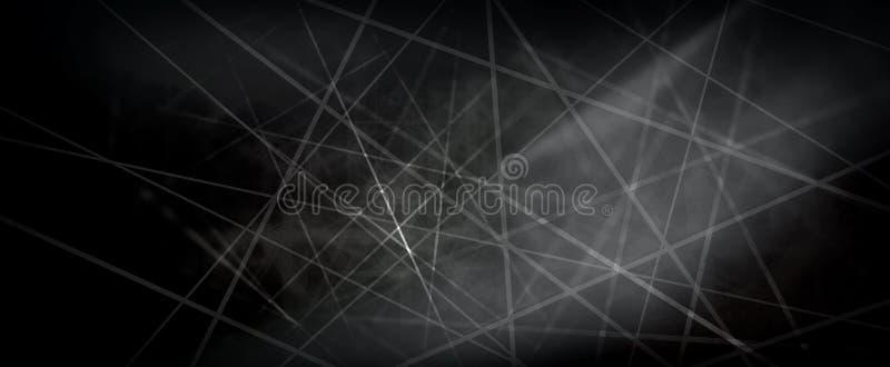 Fundo preto abstrato com as listras brancas do raio laser ou as linhas de comunicação digital no projeto de conceito da tecnologi ilustração do vetor
