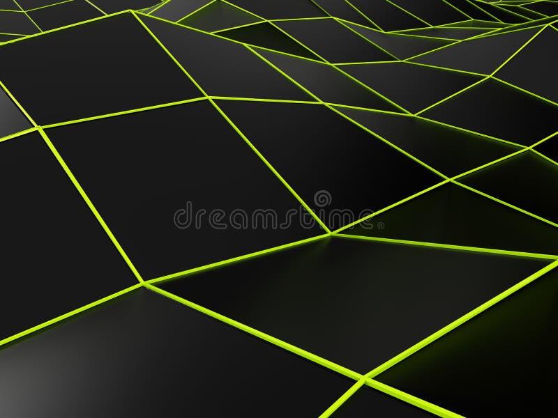 Fundo preto abstrato com linhas verde-clara ilustração royalty free