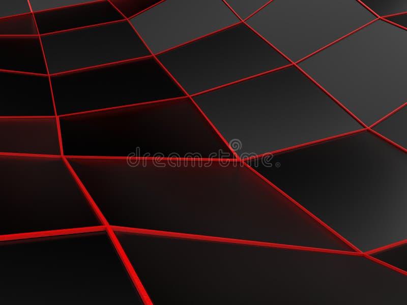 Fundo preto abstrato com linhas vermelhas brilhantes ilustração stock