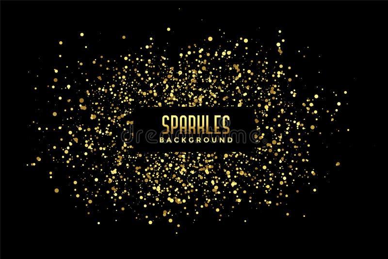 Fundo preto abstrato com sparkles dourados do brilho ilustração stock
