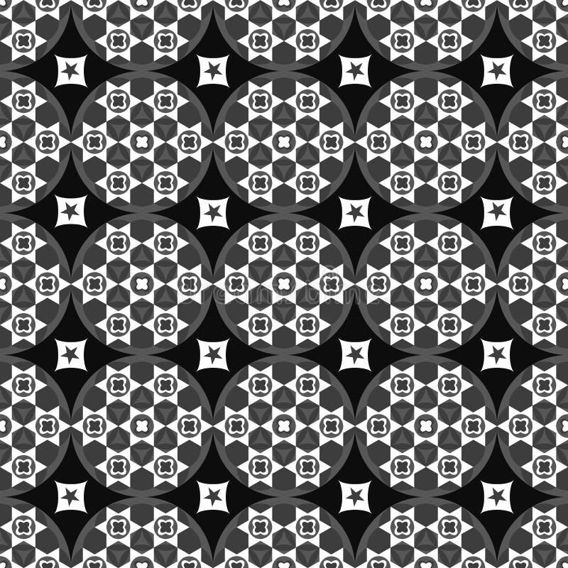 Fundo preto abstrato sem emenda com formas geométricas brancas ilustração stock
