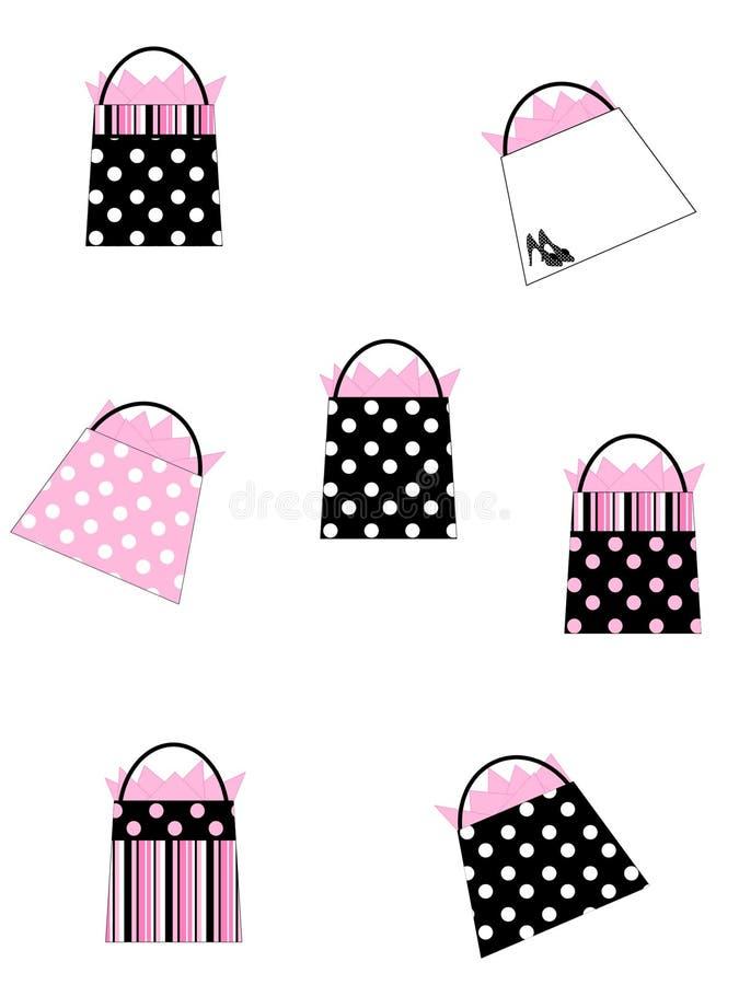 Fundo preto & cor-de-rosa dos sacos de compra ilustração stock