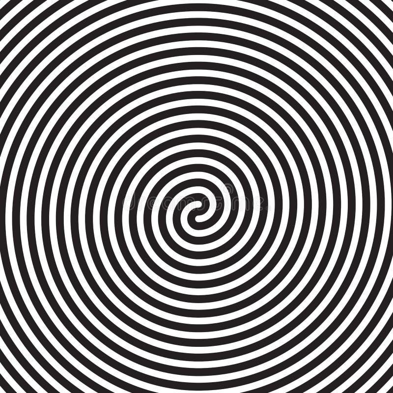 Fundo preto branco do teste padrão da ilusão ótica do redemoinho da espiral do vetor do sumário hipnótico dos círculos ilustração stock