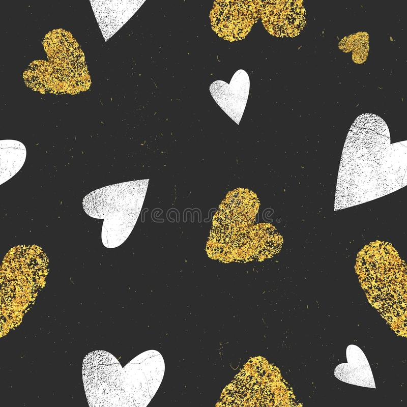 Fundo preto com corações do brilho do ouro e corações brancos com textura do grunge Dia de Valentim, forma romântica, na moda ilustração stock