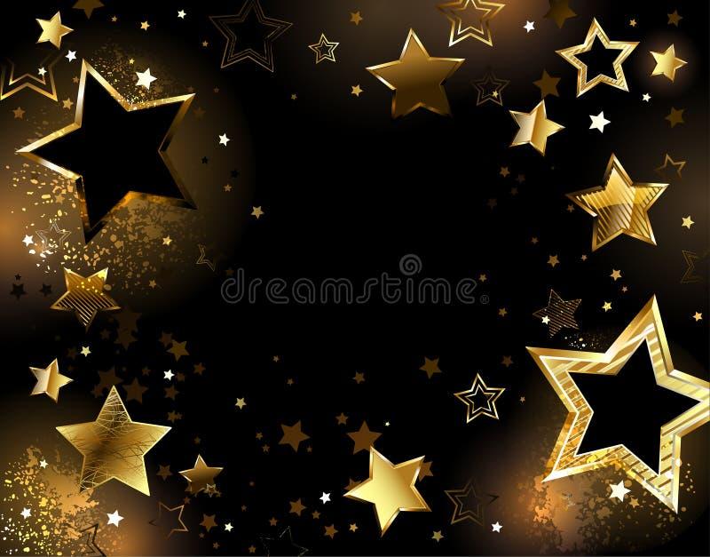 Fundo preto com estrelas do ouro ilustração royalty free